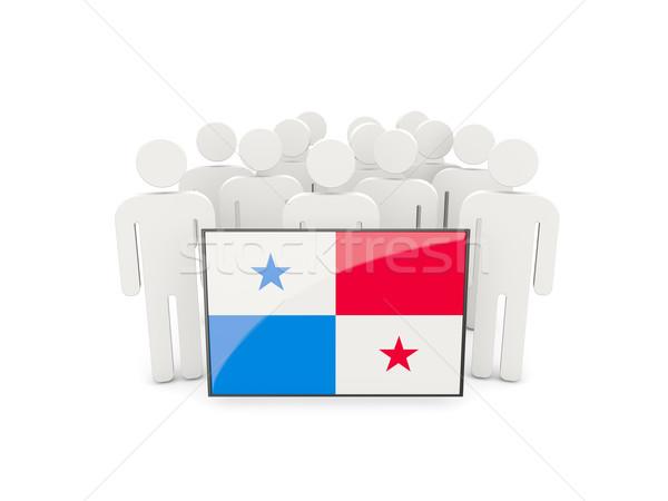 Insanlar bayrak Panama yalıtılmış beyaz kalabalık Stok fotoğraf © MikhailMishchenko