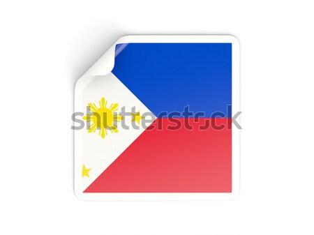 Adesivo bandeira Filipinas isolado branco viajar Foto stock © MikhailMishchenko