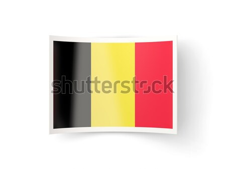 Bandeira etiqueta Bélgica isolado branco assinar Foto stock © MikhailMishchenko