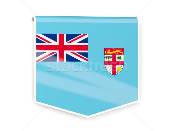 Vlag label Fiji geïsoleerd witte teken Stockfoto © MikhailMishchenko