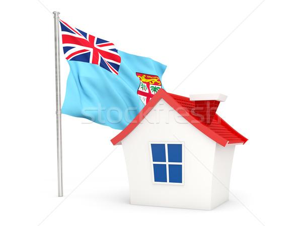 Ház zászló Fidzsi-szigetek izolált fehér otthon Stock fotó © MikhailMishchenko