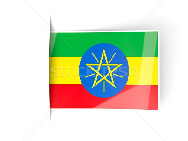 Placu etykiety banderą Etiopia odizolowany biały Zdjęcia stock © MikhailMishchenko