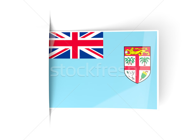 Vierkante label vlag Fiji geïsoleerd witte Stockfoto © MikhailMishchenko