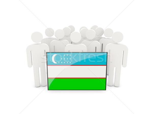 люди флаг Узбекистан изолированный белый толпа Сток-фото © MikhailMishchenko