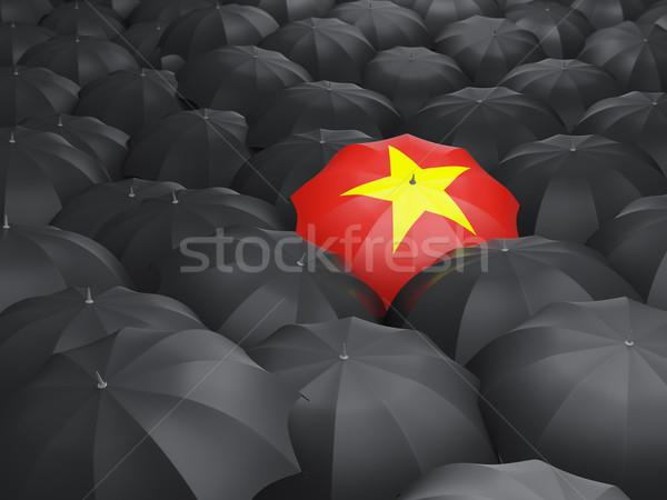 Parapluie pavillon Viêt-Nam noir parapluies Voyage Photo stock © MikhailMishchenko