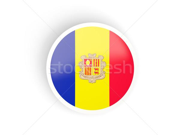 Aufkleber Flagge Andorra isoliert weiß Reise Stock foto © MikhailMishchenko
