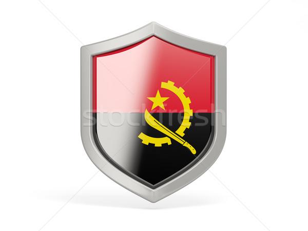 щит икона флаг Ангола изолированный белый Сток-фото © MikhailMishchenko