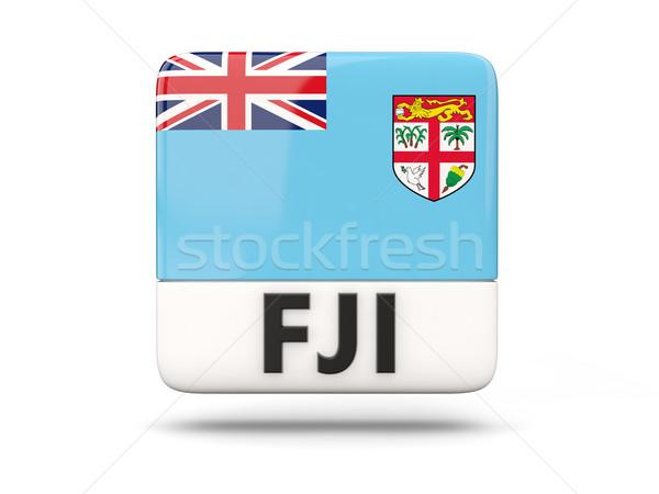 Praça ícone bandeira Fiji iso código Foto stock © MikhailMishchenko