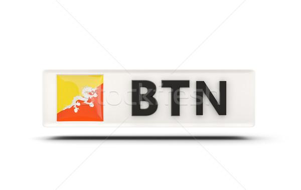 Praça ícone bandeira Butão iso código Foto stock © MikhailMishchenko