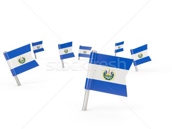 Praça bandeira El Salvador isolado branco país Foto stock © MikhailMishchenko
