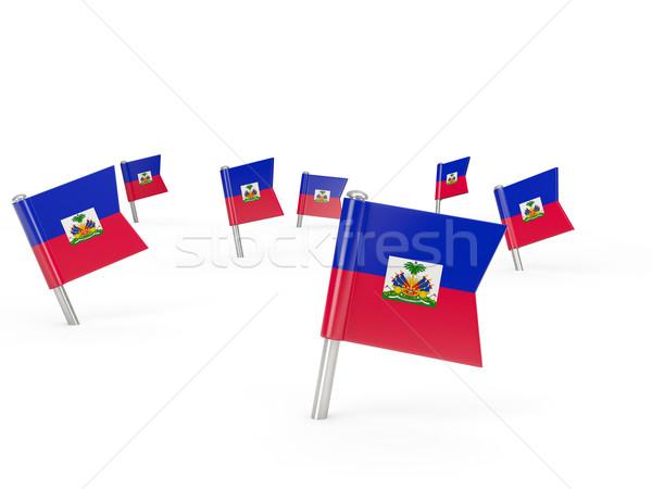Praça bandeira Haiti isolado branco país Foto stock © MikhailMishchenko