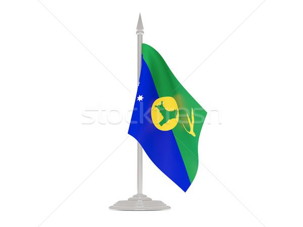 Сток-фото: флаг · Рождества · острове · флагшток · 3d · визуализации · изолированный
