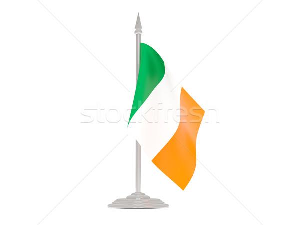 Bandera Irlanda asta de bandera 3d aislado blanco Foto stock © MikhailMishchenko