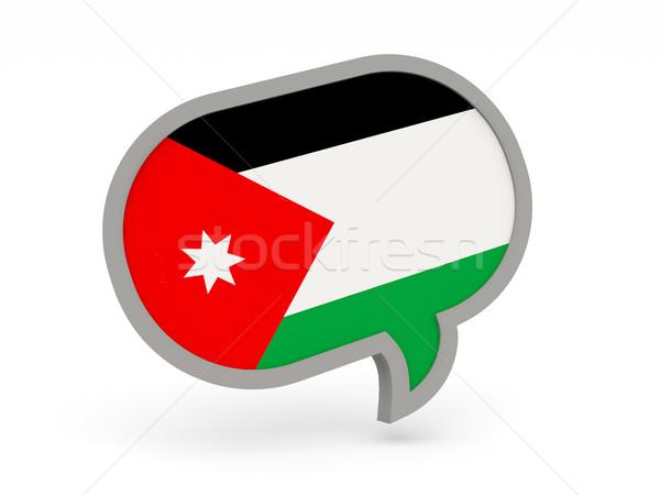 Conversar ícone bandeira Jordânia isolado branco Foto stock © MikhailMishchenko
