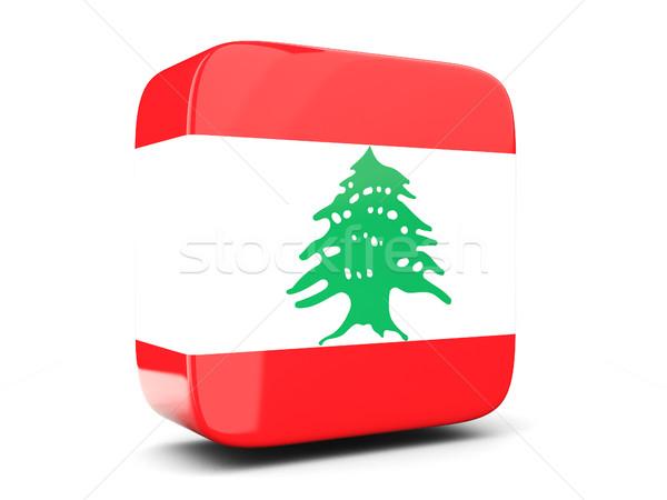 Tér ikon zászló Libanon 3d illusztráció izolált Stock fotó © MikhailMishchenko