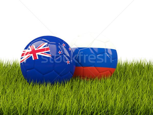 Kettő zászlók új zöld zöld fű 3d illusztráció Stock fotó © MikhailMishchenko