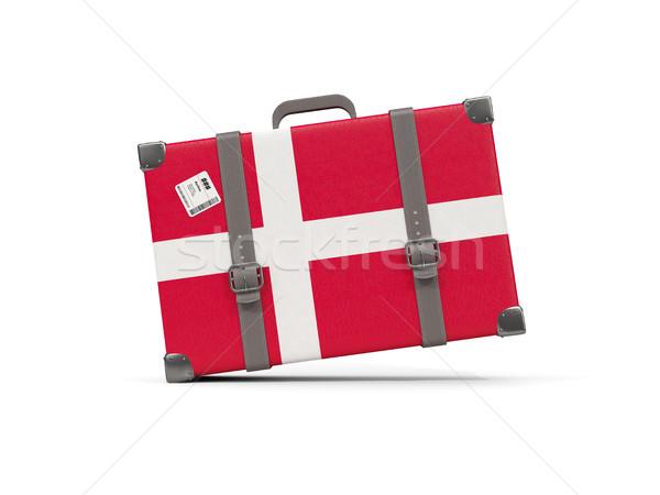 Bagagem bandeira Dinamarca mala isolado branco Foto stock © MikhailMishchenko