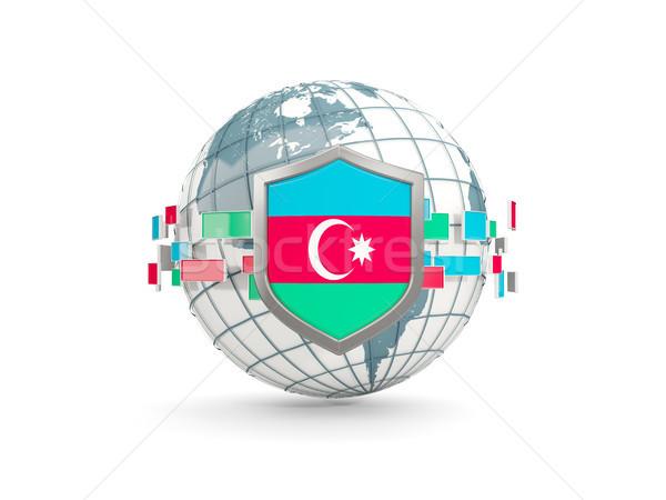 Mundo escudo bandera Azerbaiyán aislado blanco Foto stock © MikhailMishchenko