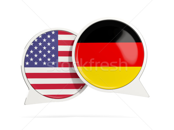 Chat bubbles of USA and Germany isolated on white Stock photo © MikhailMishchenko