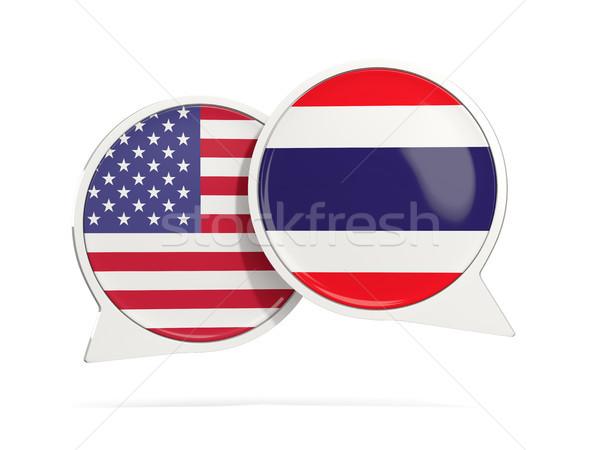 Chat buborékok USA Thaiföld izolált fehér Stock fotó © MikhailMishchenko