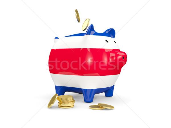 Kövér persely Costa Rica pénz izolált fehér Stock fotó © MikhailMishchenko