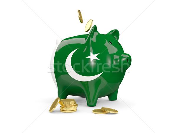 Kövér persely Pakisztán pénz izolált fehér Stock fotó © MikhailMishchenko