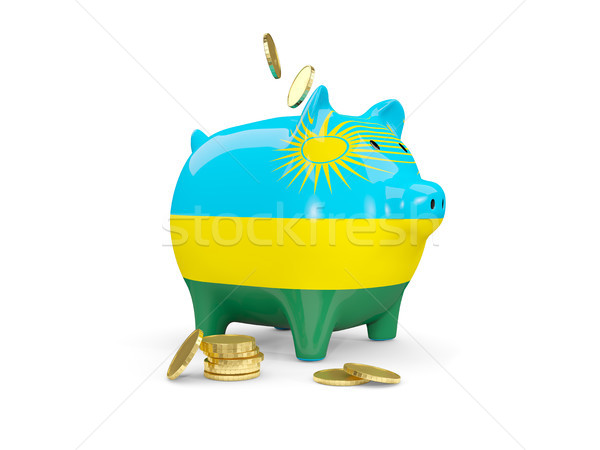 Grasse tirelire Rwanda argent isolé blanche Photo stock © MikhailMishchenko