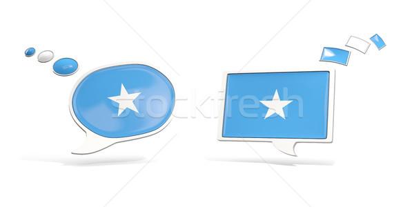 Deux chat icônes pavillon Somalie carré Photo stock © MikhailMishchenko