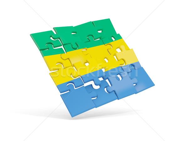 головоломки флаг Габон изолированный белый 3d иллюстрации Сток-фото © MikhailMishchenko