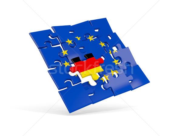 パズル フラグ ヨーロッパの 組合 ドイツ 3次元の図 ストックフォト © MikhailMishchenko
