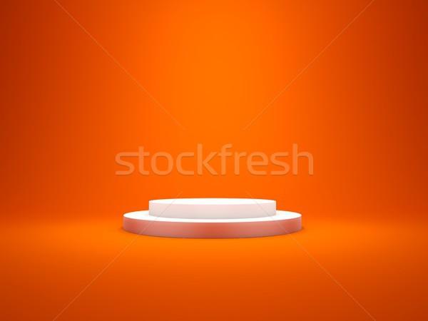 White empty pedestal with lights isolated on red bakcground Stock photo © MikhailMishchenko