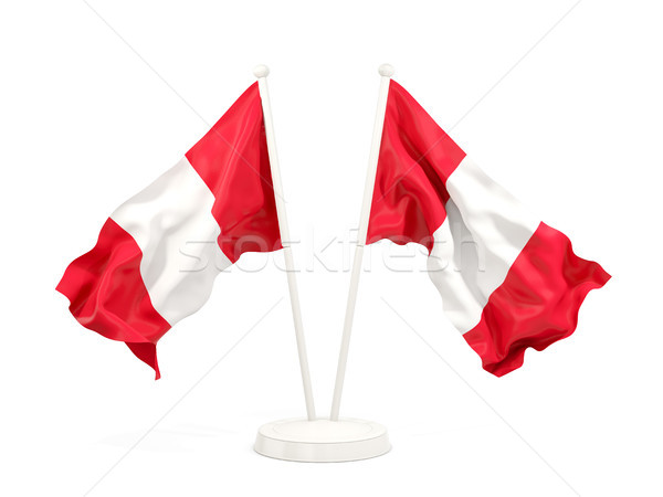 Dos banderas Perú aislado blanco Foto stock © MikhailMishchenko