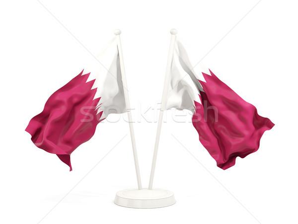 Two waving flags of qatar Stock photo © MikhailMishchenko