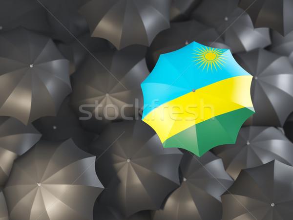 Parapluie pavillon Rwanda haut noir parapluies Photo stock © MikhailMishchenko