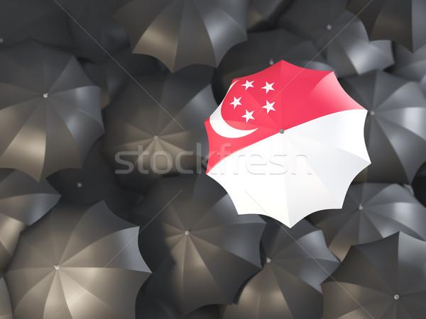 Parapluie pavillon Singapour haut noir parapluies Photo stock © MikhailMishchenko