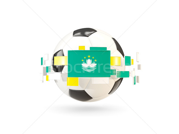Soccer ball with line of flags. Flag of macao Stock photo © MikhailMishchenko