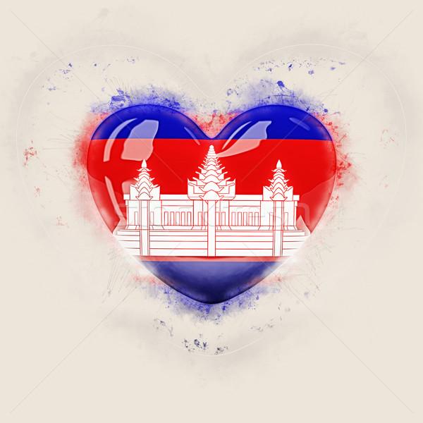 Coração bandeira Camboja grunge ilustração 3d viajar Foto stock © MikhailMishchenko
