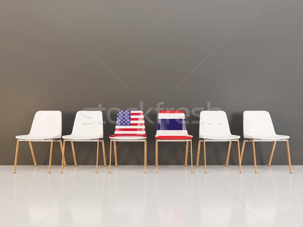 Székek zászló USA Thaiföld csetepaté 3d illusztráció Stock fotó © MikhailMishchenko