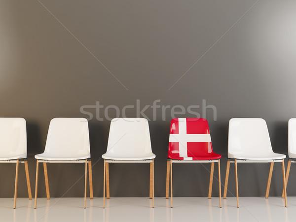 Président pavillon Danemark rangée blanche chaises Photo stock © MikhailMishchenko