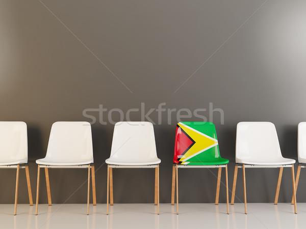 Szék zászló Guyana csetepaté fehér székek Stock fotó © MikhailMishchenko