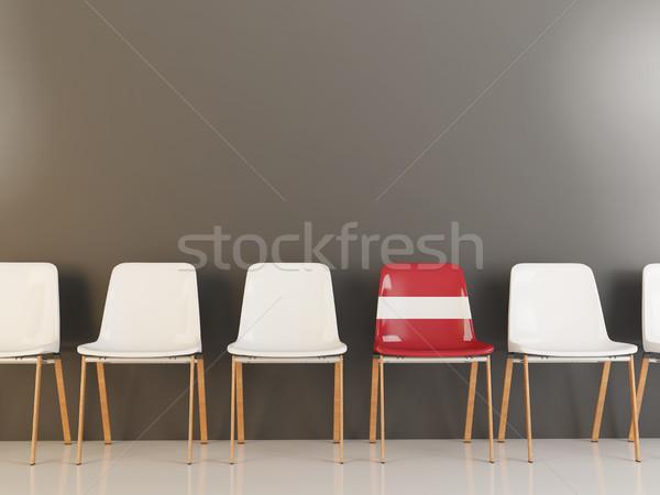 Председатель флаг Латвия белый стульев Сток-фото © MikhailMishchenko