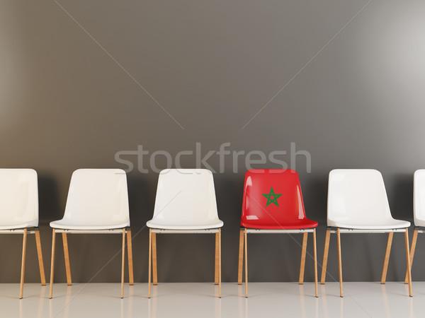 Председатель флаг Марокко белый стульев Сток-фото © MikhailMishchenko