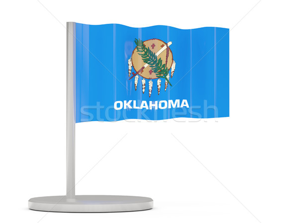 Flag pin with flag of oklahoma. United states local flags Stock photo © MikhailMishchenko