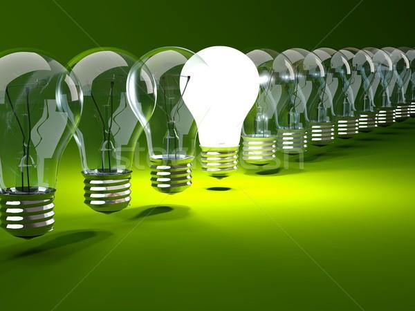 Stock photo: Row of light bulbs