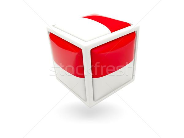 Bandeira Mônaco cubo ícone isolado branco Foto stock © MikhailMishchenko