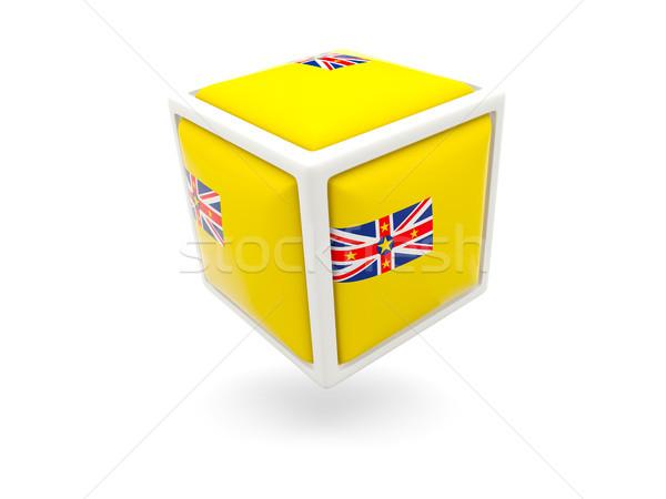 Foto stock: Bandeira · cubo · ícone · isolado · branco