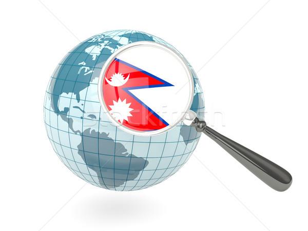 Bayrak Nepal mavi dünya yalıtılmış Stok fotoğraf © MikhailMishchenko