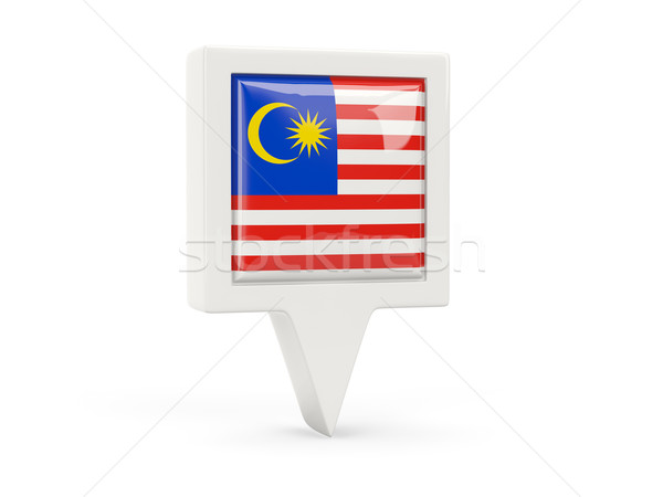 Praça bandeira ícone Malásia isolado branco Foto stock © MikhailMishchenko