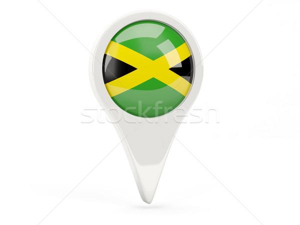 Zászló ikon Jamaica izolált fehér térkép Stock fotó © MikhailMishchenko