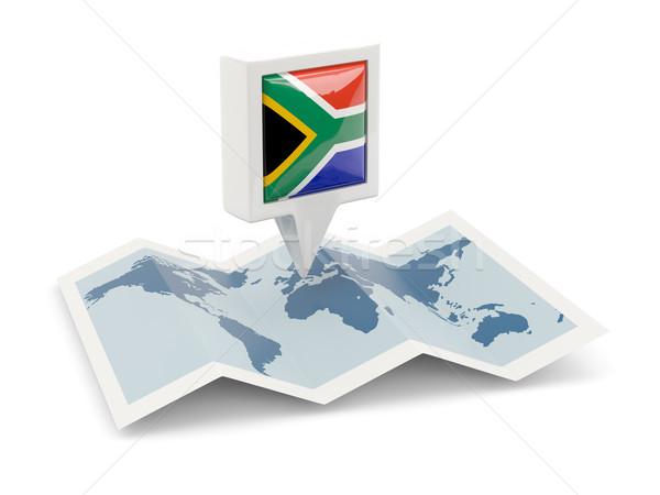 広場 ピン フラグ 南アフリカ 地図 旅行 ストックフォト © MikhailMishchenko